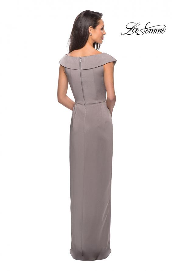 Picture of: Long Jersey Dress with Ruching and Cap Sleeves in Pewter, Style: 25206, Back Picture
