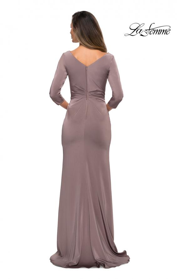 Picture of: Three Quarter Sleeve Jersey Dress with Ruching in Pewter, Style: 28197, Back Picture