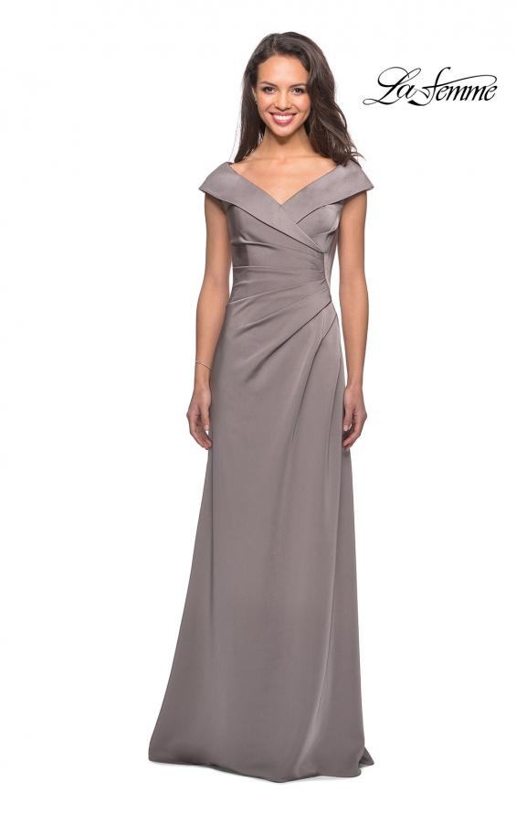 Picture of: Satin Floor Length Gown with Ruched Detailing in Pewter, Style: 26523, Detail Picture 4