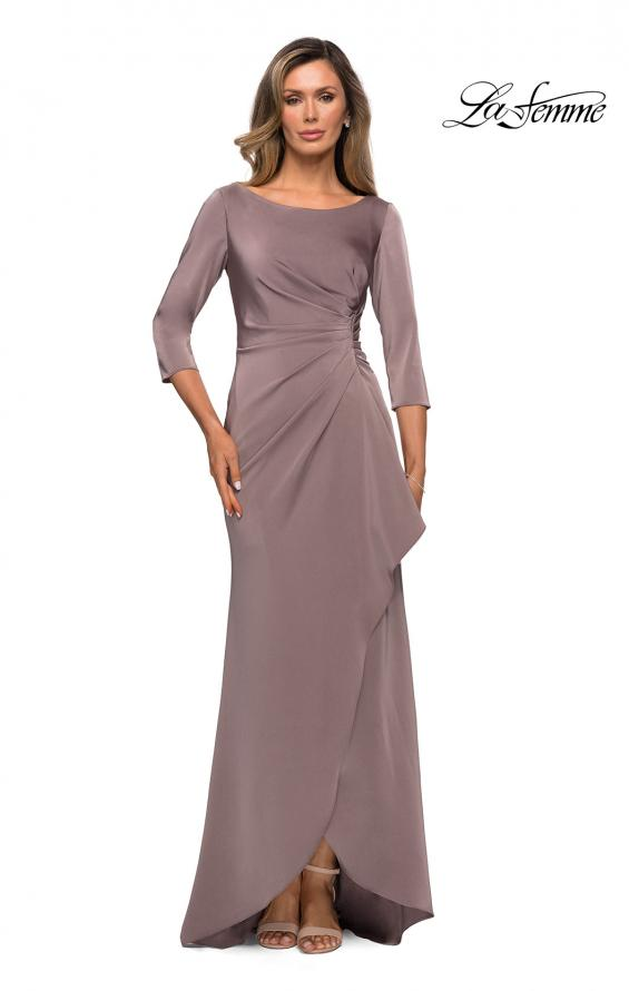 Picture of: Three Quarter Sleeve Jersey Dress with Ruching in Pewter, Style: 28197, Detail Picture 3