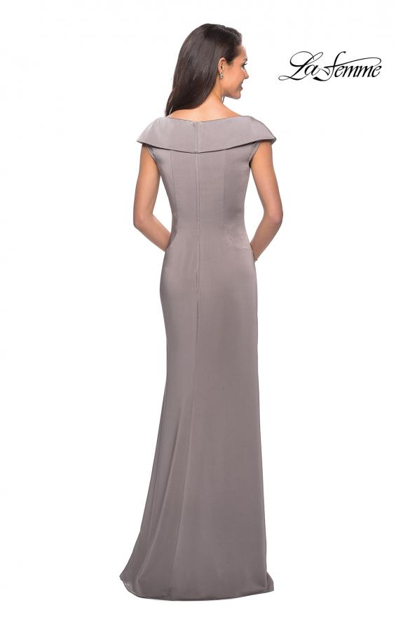 Picture of: Satin Floor Length Gown with Ruched Detailing in Pewter, Style: 26523, Detail Picture 5