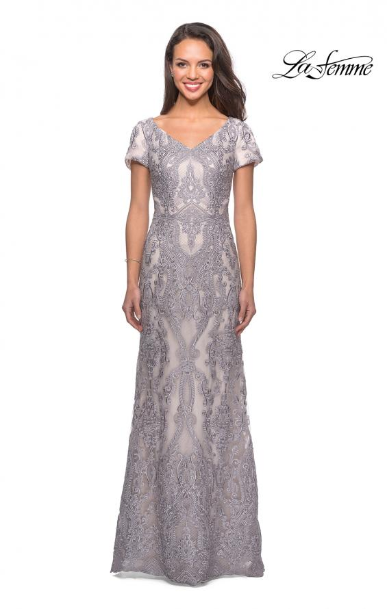 Picture of: Long Lace Dress with Short Sleeves and V-Neck in Pink Gray, Style: 26708, Main Picture
