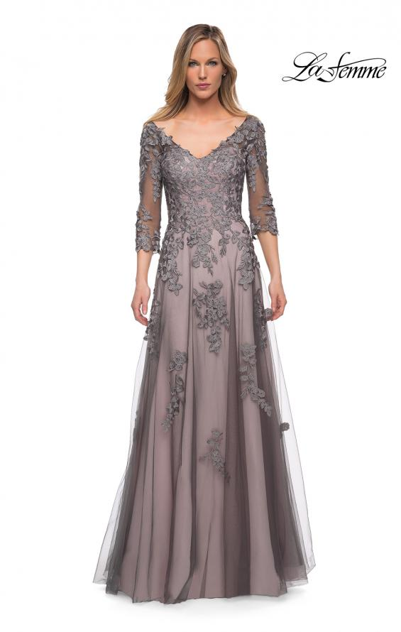 Picture of: A Line Gown with Sheer Three-Quarter Sleeves in Pink Gray, Main Picture