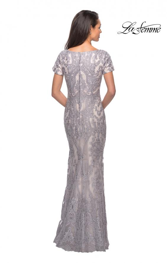 Picture of: Long Lace Dress with Short Sleeves and V-Neck in Pink Gray, Style: 26708, Back Picture