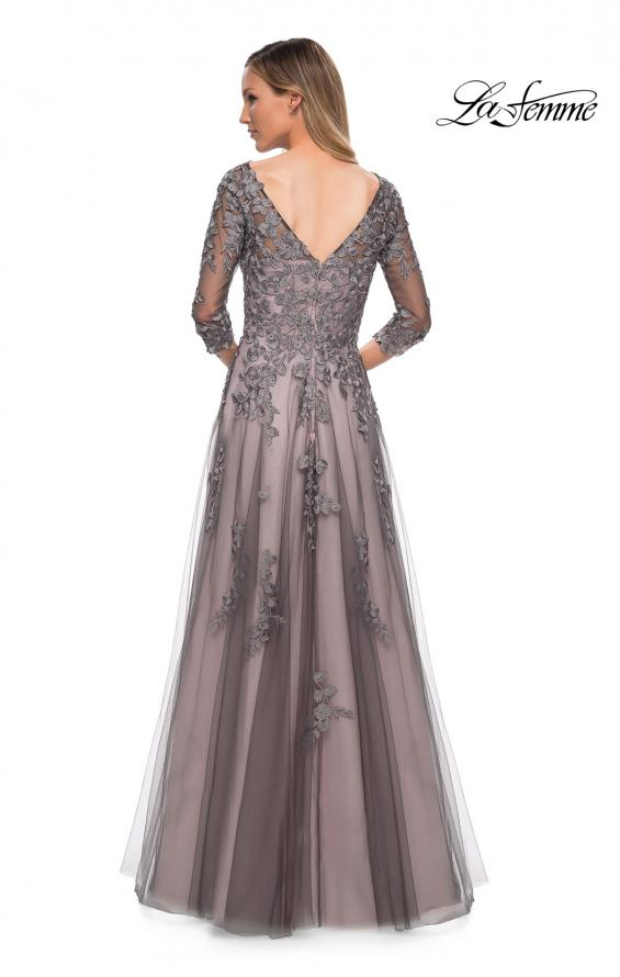 Picture of: A Line Gown with Sheer Three-Quarter Sleeves in Pink Gray, Back Picture