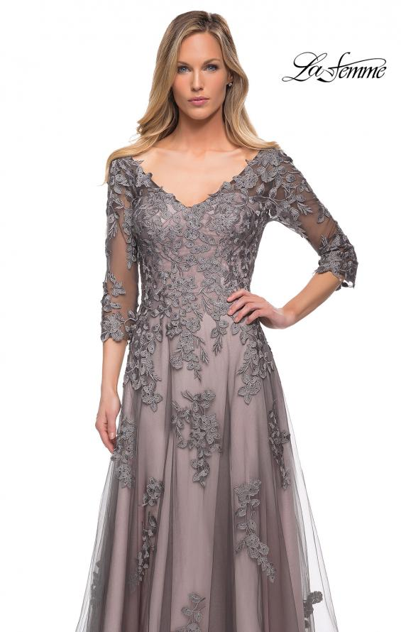 Picture of: A Line Gown with Sheer Three-Quarter Sleeves in Pink Gray, Detail Picture 1