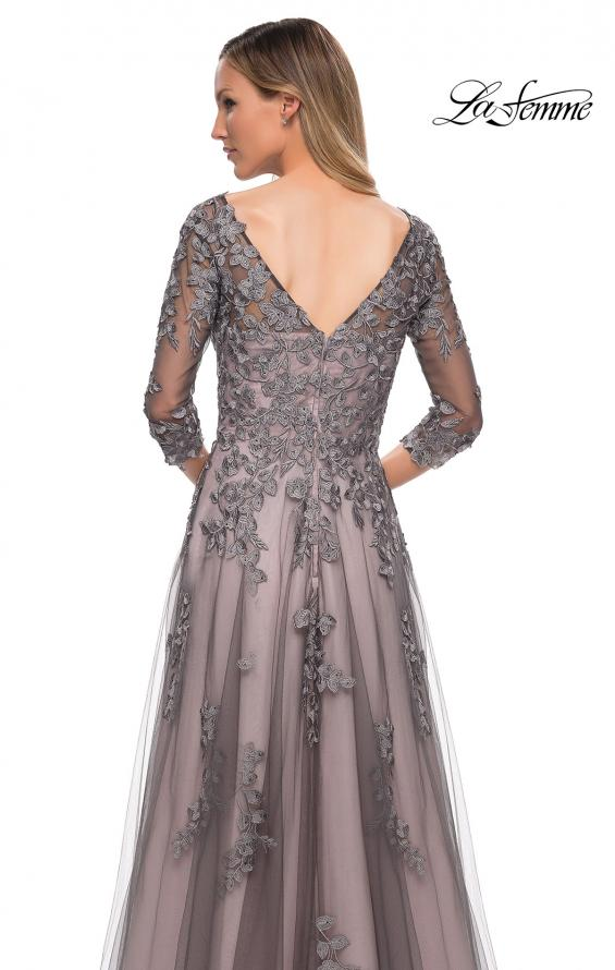 Picture of: A Line Gown with Sheer Three-Quarter Sleeves in Pink Gray, Detail Picture 2