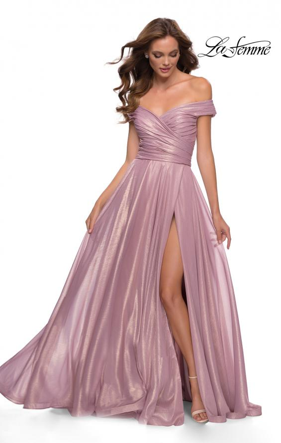 Picture of: Metallic Chiffon Gown with Off the Shoulder Top in Pink Metallic, Style 29172, Main Picture