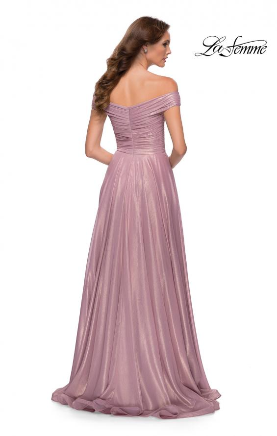 Picture of: Metallic Chiffon Gown with Off the Shoulder Top in Pink Metallic, Style 29172, Back Picture