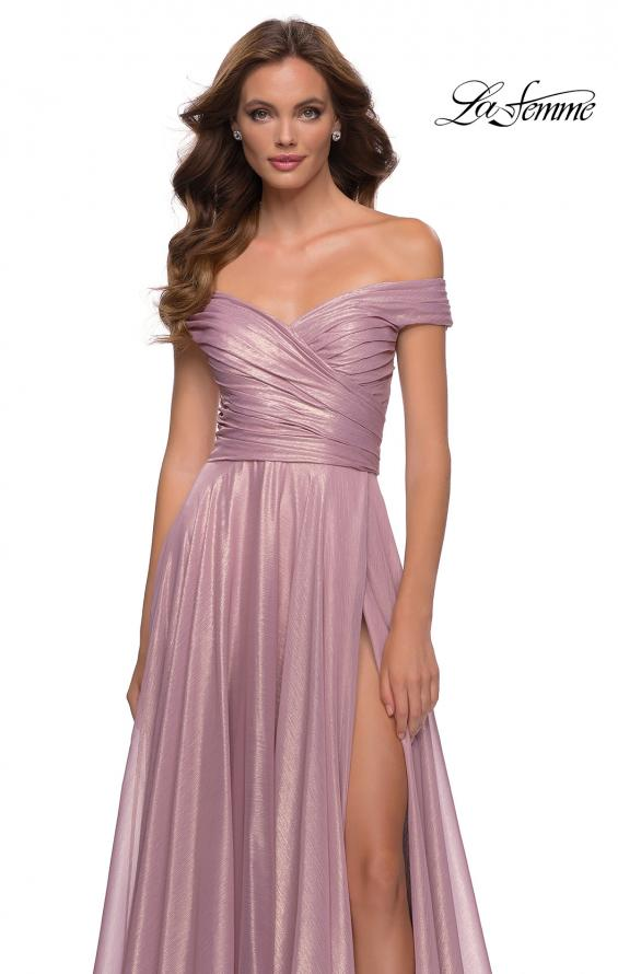 Picture of: Metallic Chiffon Gown with Off the Shoulder Top in Pink Metallic, Style 29172, Detail Picture 1
