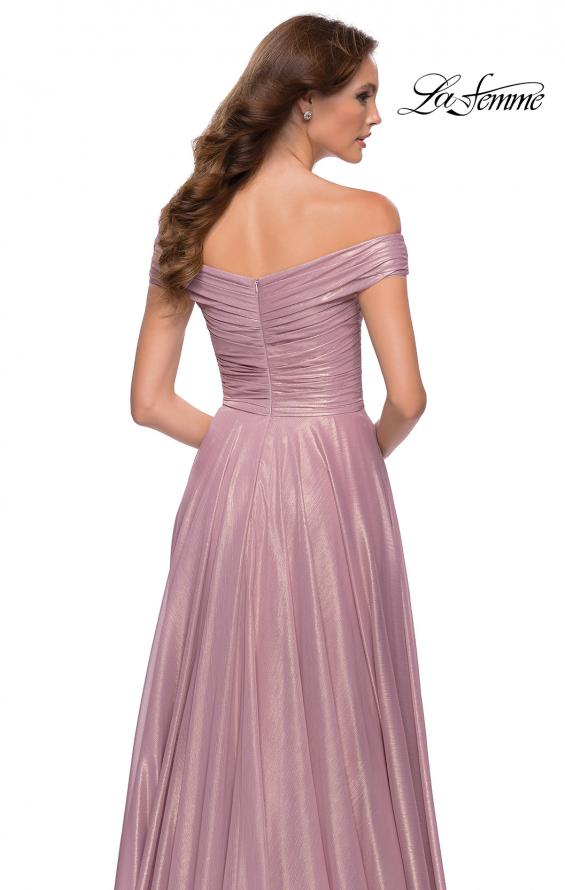 Picture of: Metallic Chiffon Gown with Off the Shoulder Top in Pink Metallic, Style 29172, Detail Picture 2