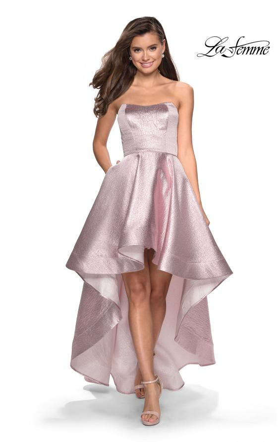 Picture of: Metallic High-Low Strapless Dress with Pockets in Pink, Style: 27783, Main Picture