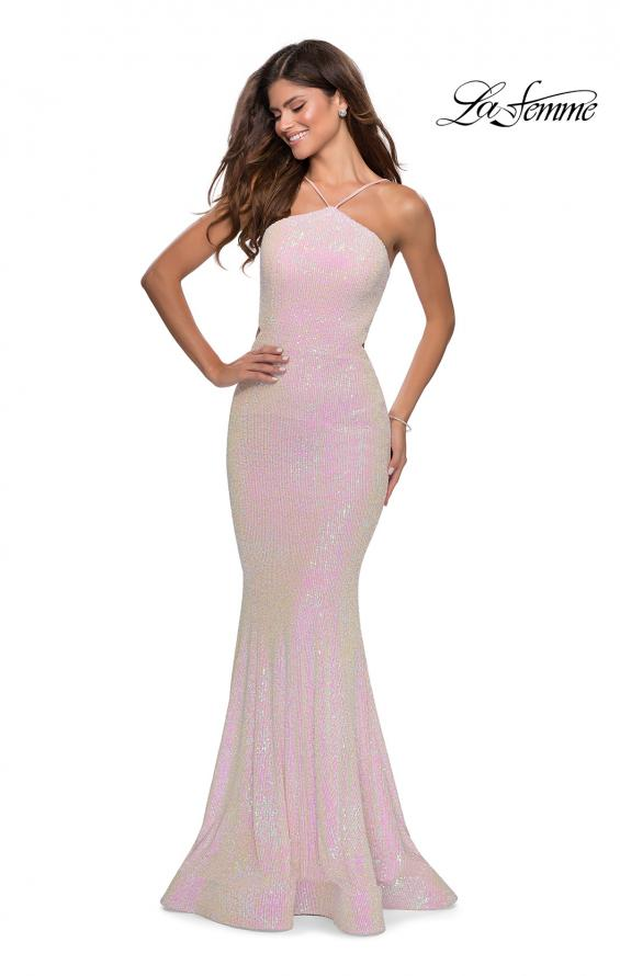 Picture of: Iridescent Sequin Gown with High Pyramid Neckline in Pink, Style: 28614, Main Picture
