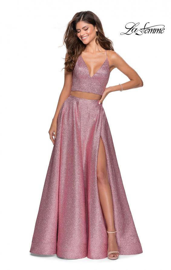 Picture of: Two Piece Shimmer Prom Dress with Pockets in Pink, Style: 28618, Main Picture