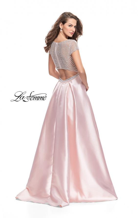 Picture of: Mikado Prom Dress with Pearl Beaded Cap Sleeves in Pink, Style: 26327, Back Picture
