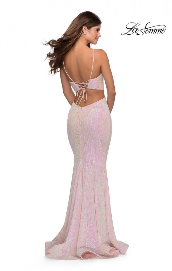 Picture of: Iridescent Sequin Gown with High Pyramid Neckline in Pink, Style: 28614, Back Picture