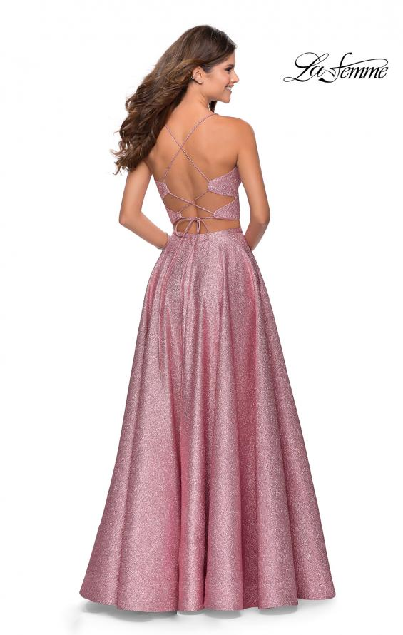 Picture of: Two Piece Shimmer Prom Dress with Pockets in Pink, Style: 28618, Back Picture