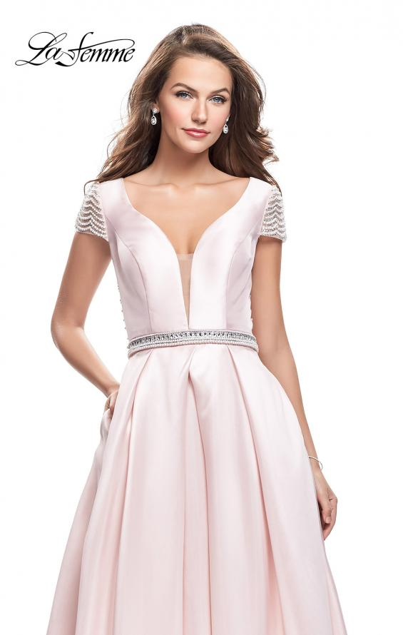 Picture of: Mikado Prom Dress with Pearl Beaded Cap Sleeves in Pink, Style: 26327, Detail Picture 1