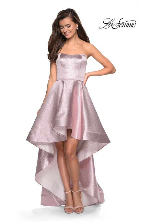 Picture of: Metallic High-Low Strapless Dress with Pockets in Pink, Style: 27783, Detail Picture 1