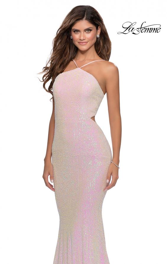 Picture of: Iridescent Sequin Gown with High Pyramid Neckline in Pink, Style: 28614, Detail Picture 1