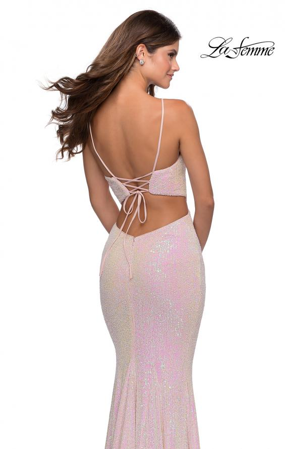 Picture of: Iridescent Sequin Gown with High Pyramid Neckline in Pink, Style: 28614, Detail Picture 2