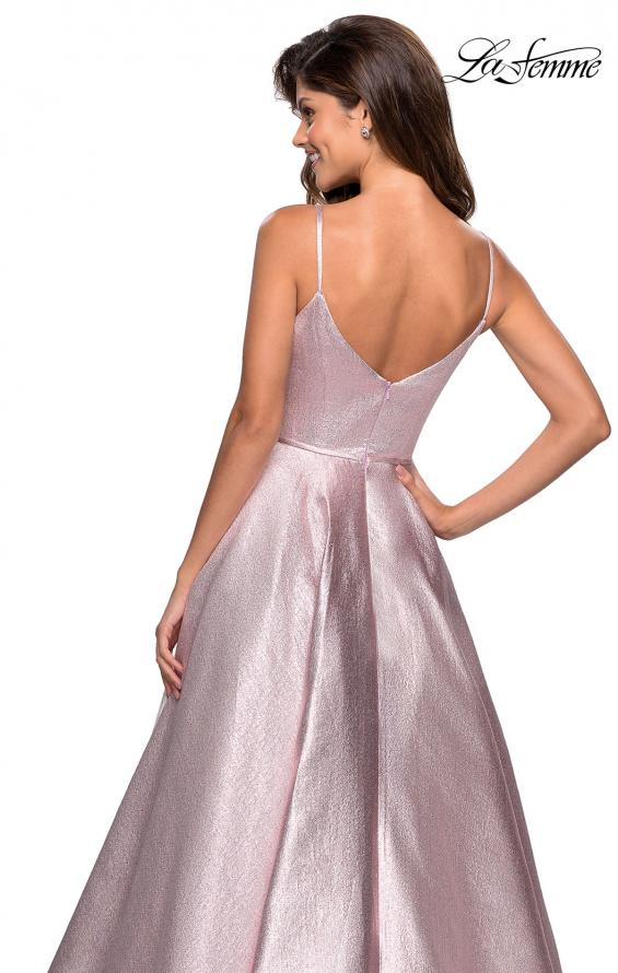 Picture of: Metallic Long Evening Gown with Plunging Neckline, Style: 27322, Detail Picture 3