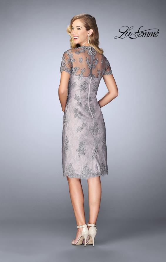 Picture of: Short Lace Dress with Illusion Back and Neckline in Pink/Gray, Style: 24931, Back Picture