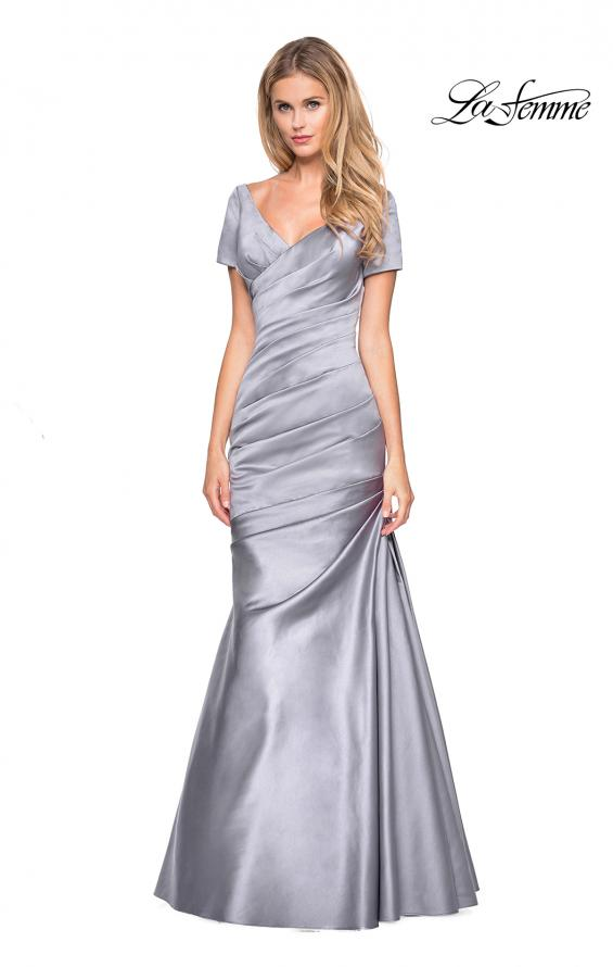 Picture of: Long Satin Gown with Elegant Ruching, Style: 26947, Main Picture