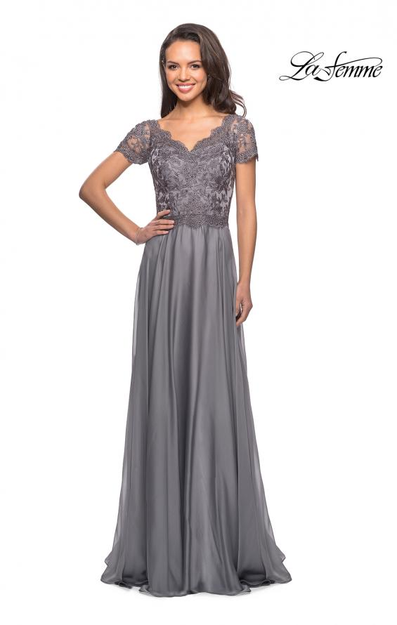 Picture of: Long Chiffon Dress with Lace Bodice and Pockets in Platinum, Style: 27098, Detail Picture 8