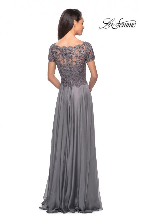 Picture of: Long Chiffon Dress with Lace Bodice and Pockets in Platinum, Style: 27098, Detail Picture 9