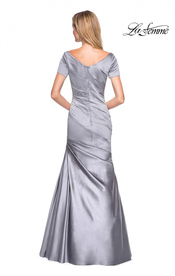 Picture of: Long Satin Gown with Elegant Ruching, Style: 26947, Back Picture