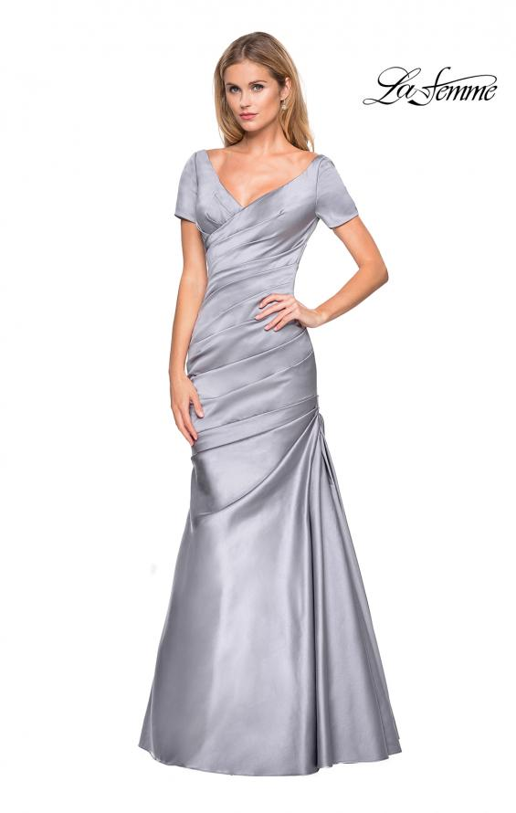 Picture of: Long Satin Gown with Elegant Ruching, Style: 26947, Detail Picture 1