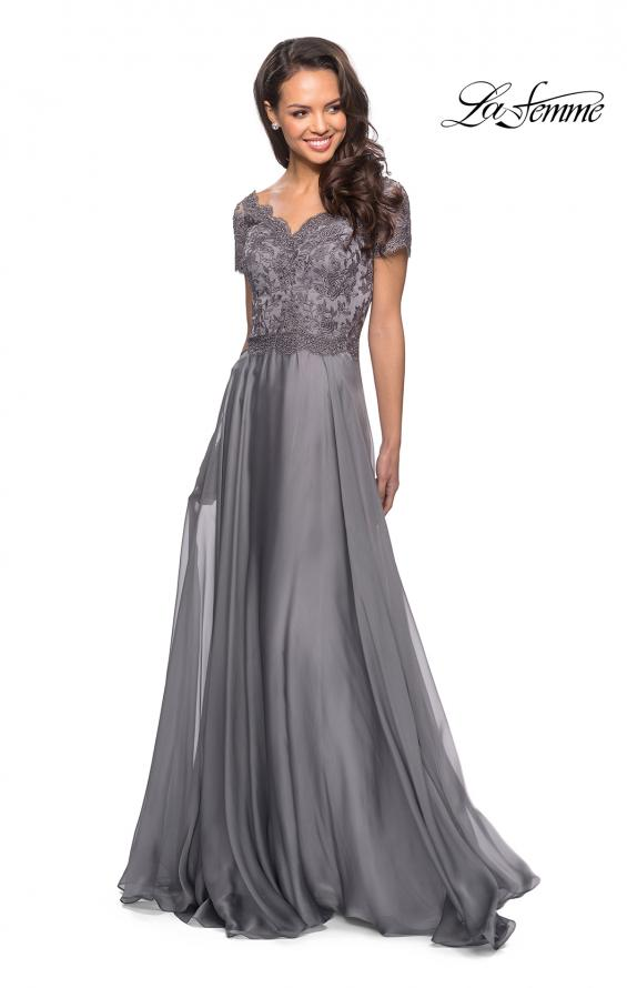Picture of: Long Chiffon Dress with Lace Bodice and Pockets in Platinum, Style: 27098, Detail Picture 1