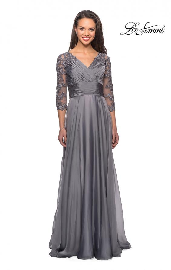 Picture of: Floor Length Chiffon Dress with Lace Sleeves, Style: 27153, Detail Picture 1