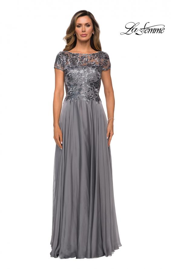Picture of: Short Sleeve Metallic Lace Evening Dress with Chiffon Skirt in Platinum, Style: 27924, Detail Picture 1