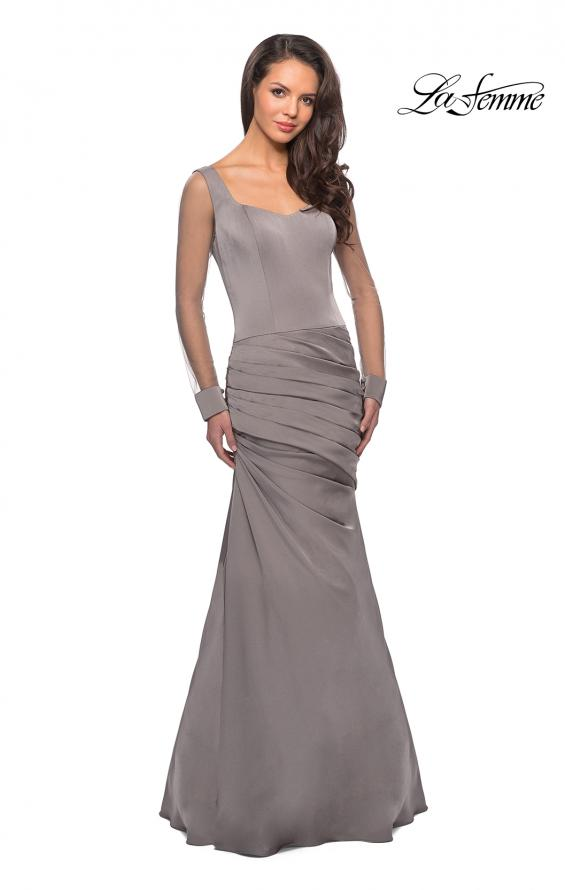 Picture of: Long Jersey Gown with Sheer Long Sleeves and Ruching in Platinum, Style: 25064, Detail Picture 2