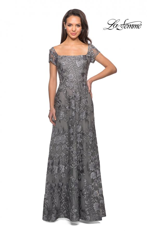 Picture of: Floor Length Short Sleeve Lace Gown in Platinum, Style: 26582, Detail Picture 2