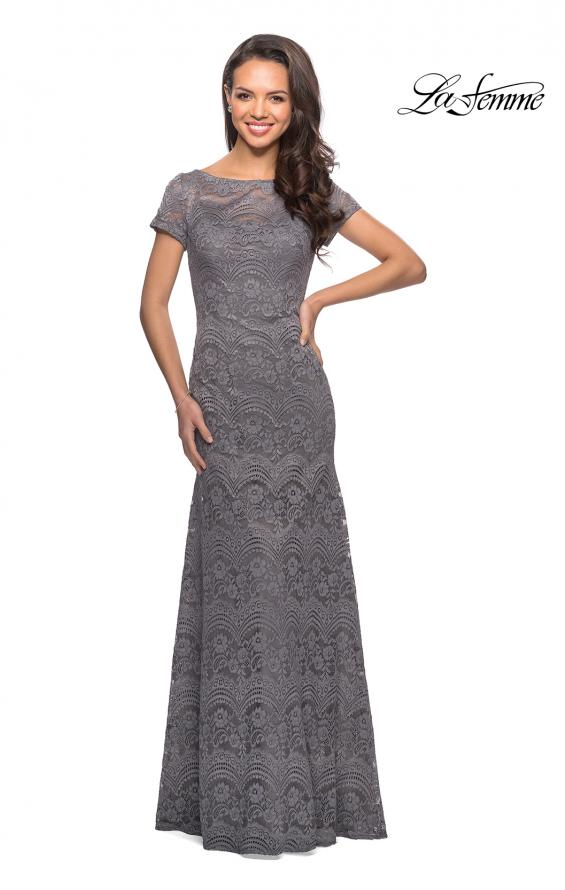 Picture of: Floor Length Lace Gown with Short Sleeves in Platinum, Style: 26875, Detail Picture 2