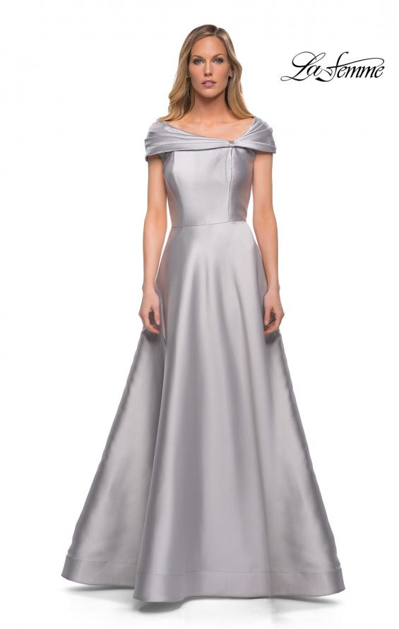 Picture of: Long A Line Off the Shoulder Gown with Pockets in Platinum, Detail Picture 2
