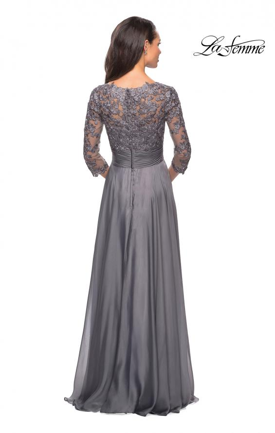 Picture of: Floor Length Chiffon Dress with Lace Sleeves, Style: 27153, Detail Picture 2