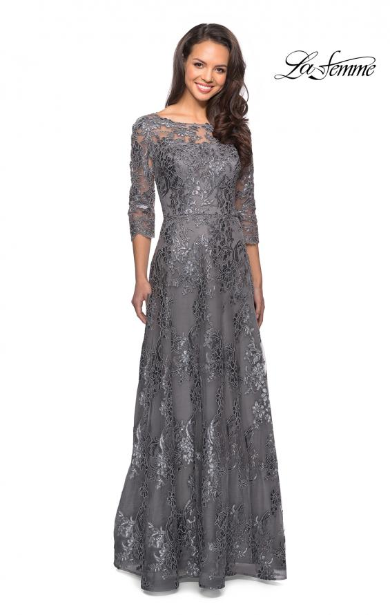 Picture of: Long Lace Dress wuth Sequins and Sheer 3/4 Sleeves, Style: 27885, Detail Picture 2