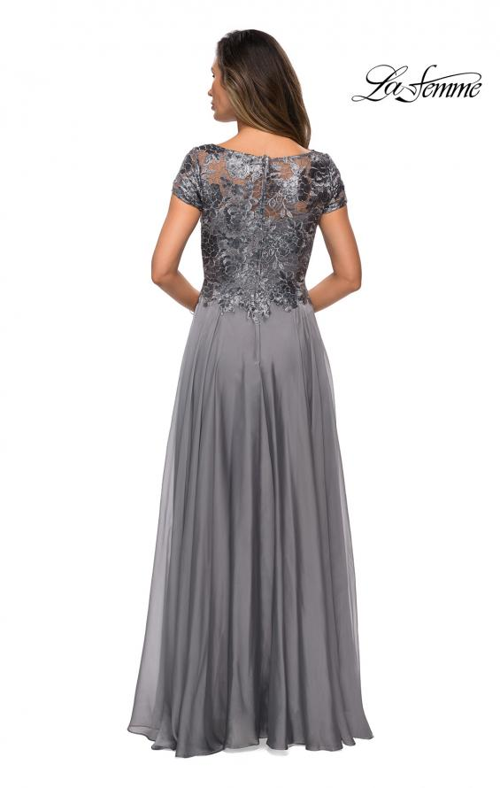 Picture of: Short Sleeve Metallic Lace Evening Dress with Chiffon Skirt in Platinum,Style: 27924, Detail Picture 2