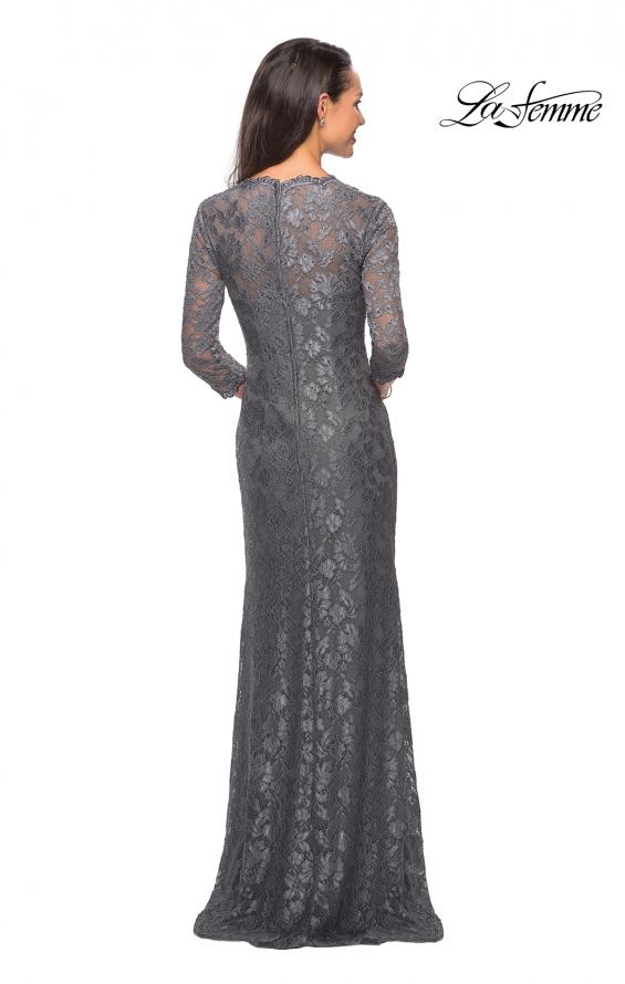 Picture of: Long Lace Gown with Sweetheart Neckline in Platinum, Style: 26427, Detail Picture 3