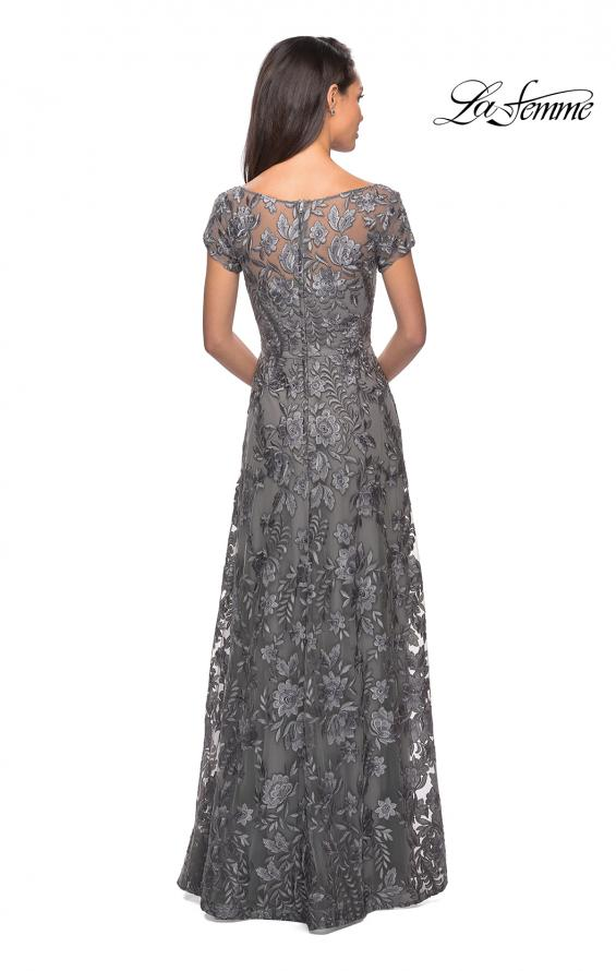 Picture of: Floor Length Short Sleeve Lace Gown in Platinum, Style: 26582, Detail Picture 3