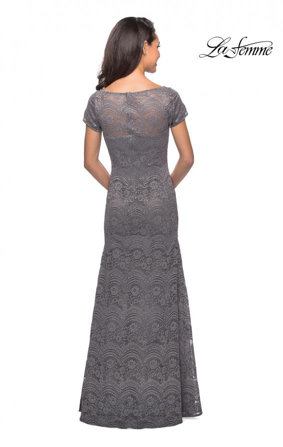 Picture of: Floor Length Lace Gown with Short Sleeves in Platinum, Style: 26875, Detail Picture 3