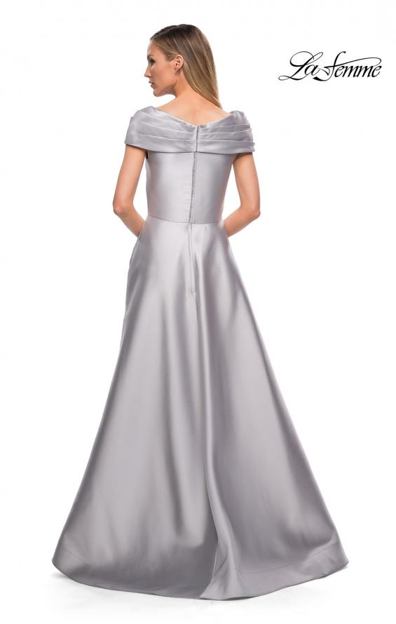 Picture of: Long A Line Off the Shoulder Gown with Pockets in Platinum, Detail Picture 3