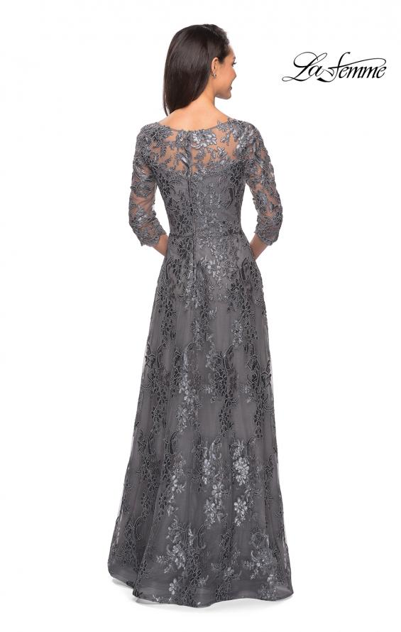 Picture of: Long Lace Dress wuth Sequins and Sheer 3/4 Sleeves, Style: 27885, Detail Picture 3