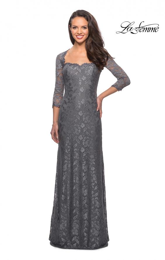 Picture of: Long Lace Gown with Sweetheart Neckline in Platinum, Style: 26427, Detail Picture 4