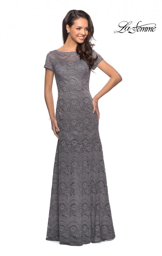 Picture of: Floor Length Lace Gown with Short Sleeves in Platinum, Style: 26875, Detail Picture 4