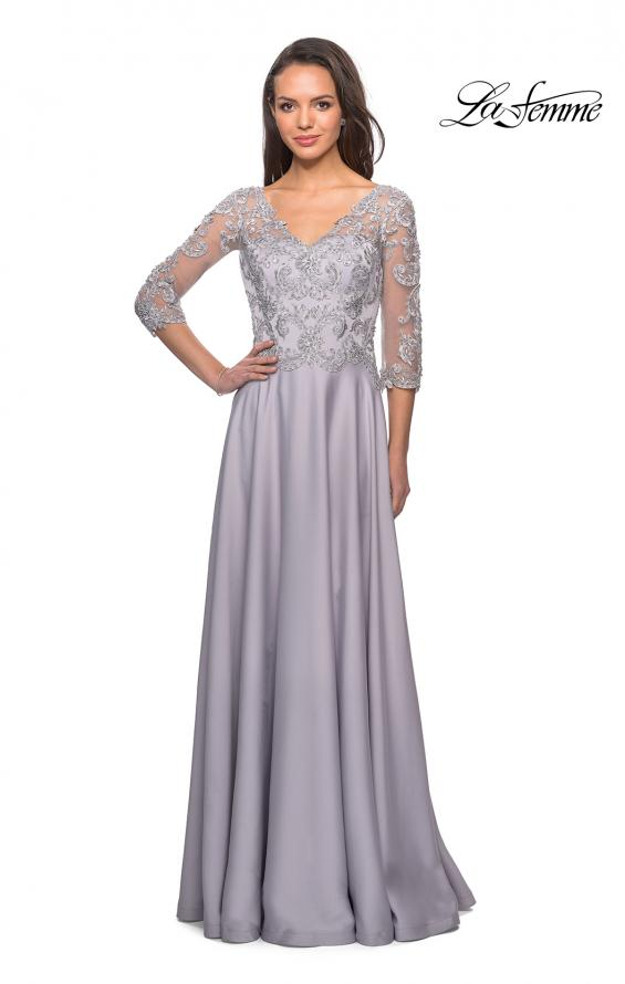 Picture of: Floor Length Satin Dress wirh Lace Detail and Pockets, Style: 27235, Detail Picture 4